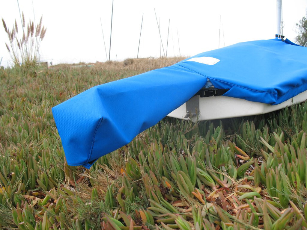 Sunfish Mast Up Flat Cover by SLO Sail and Canvas shown in Polyester Royal Blue.