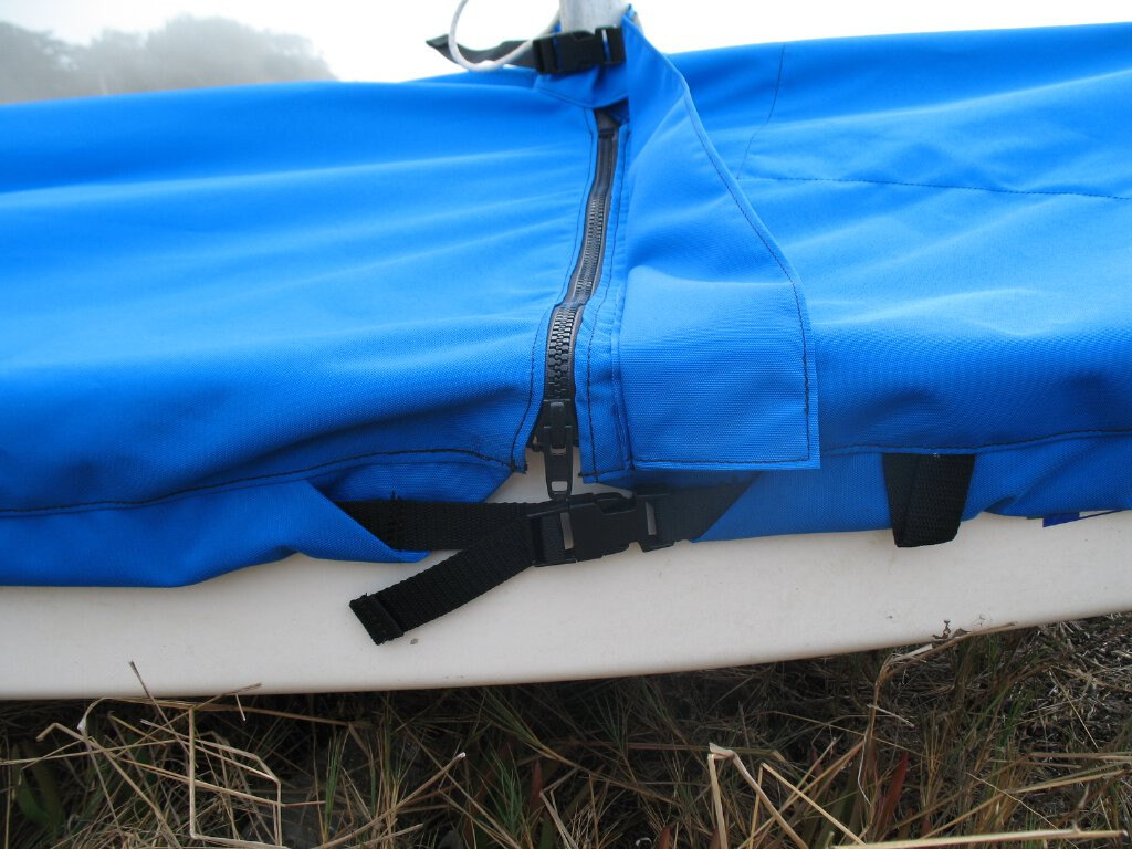 Sunfish Mast Up Flat Cover by SLO Sail and Canvas. Durable #10 zipper with UV protective flap plus polypropylene strap with Fastex buckle.