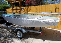 """Lido 14 Sailboat Hull Cover made in America by skilled artisans at SLO Sail and Canvas. 1/4"""" shockcord is built into cover to secure your cover tightly around the boat's gunwale.  Choose either SPLIT or SOLID transom style. SPLIT style depicted."""