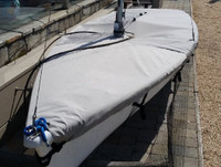 Laser II Sailboat Mast Up Flat Mooring Cover by SLO Sail and Canvas