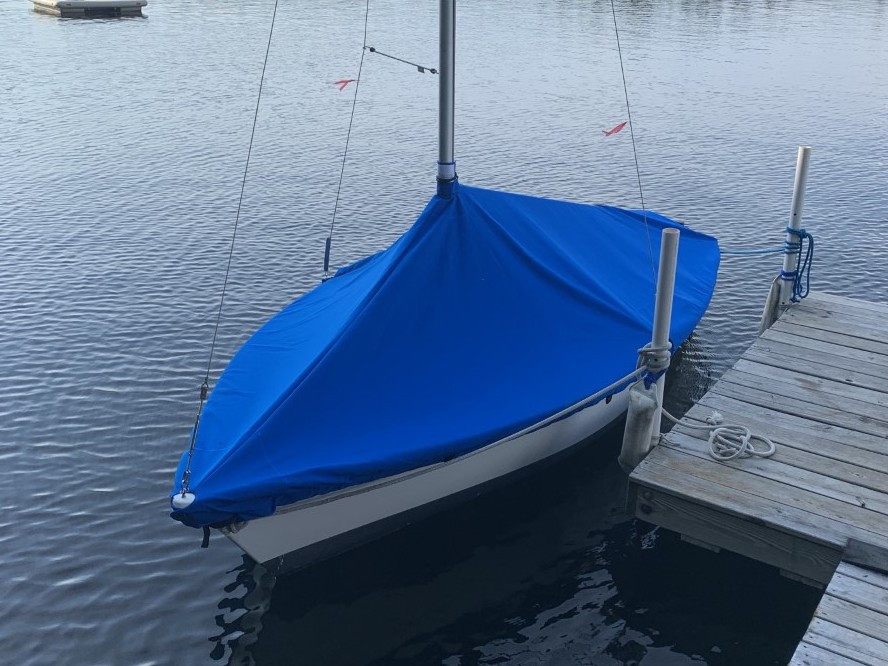 Vagabond 14 Sailboat Mast Up Peaked Mooring Cover made in America by skilled artisans at SLO Sail and Canvas.