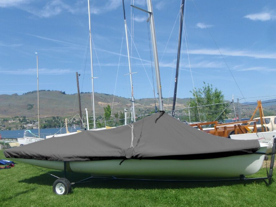 470 Sailboat Mast Up Peaked Cover made in America by skilled artisans at SLO Sail and Canvas.