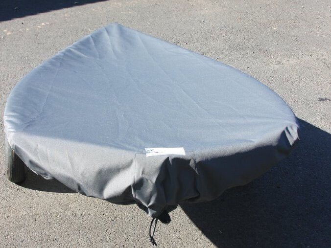 BIC O'Pen Sailboat Deck Cover by SLO Sail and Canvas. Shown in Top Gun Sea Gull Gray.