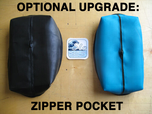 "Optional Upgrade: Zipper Pocket. The pocket dimensions are roughly 12"" x 7"" and 5"" tall. Dimensions may vary slightly depending on the specific trampoline."