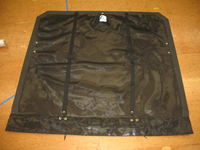 """3pc Trampoline to fit a Hobie® 16 catamaran made in America by skilled artisans at SLO Sail and Canvas. 12"""" X 12"""" halyard pocket, included. Trapeze grommets, included. Built-in aft line catcher, included. Bias cut - rear lacing only. Hand pounded #4 brass spur grommets."""