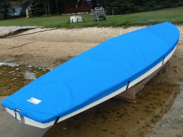 Scorpion Sailboat  Top Cover made in America by skilled artisans at SLO Sail and Canvas. Cover shown in Polyester Royal Blue. Available in 3 fabrics and many color choices.