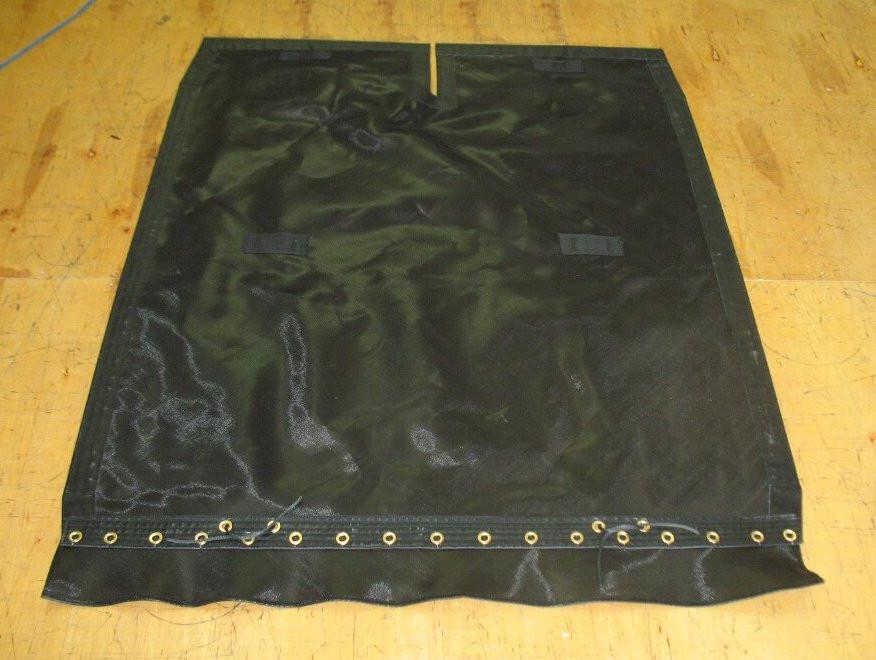 Shown in 8oz basket weave black bias cut Polypropylene mesh.