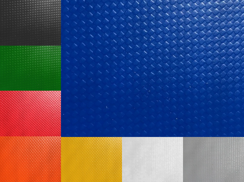 Choose from 8 colors of Vinyl coated Polyester. Red, orange, yellow, gray, and white are made of 22oz Vinyl. Black, blue, and green are made of 35oz vinyl.