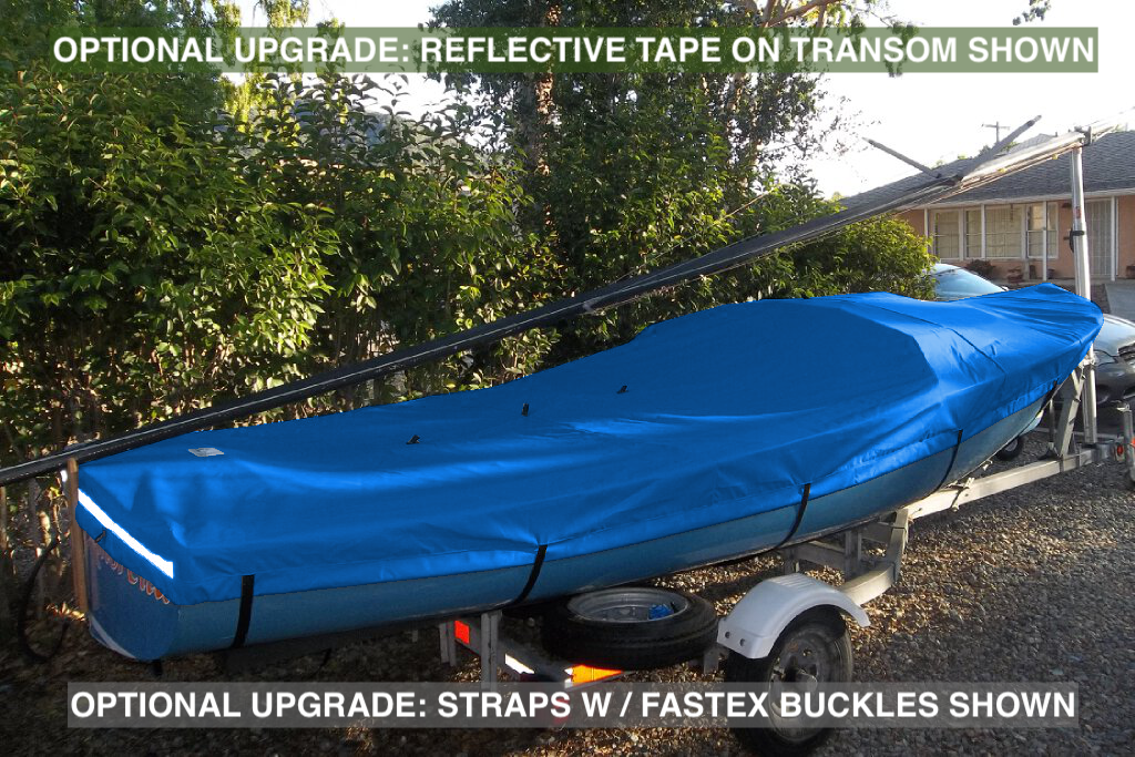 Optional Upgrades: Reflective Tape (increase your DaySailer's visibility when parked on the street or in boatyard), Straps w/ Plastic Fastex Buckles (replace standard sewn webbing loops for quicker secure lash-down) shown.