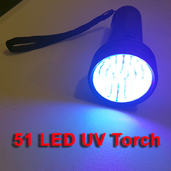 51 led uv torch powered on