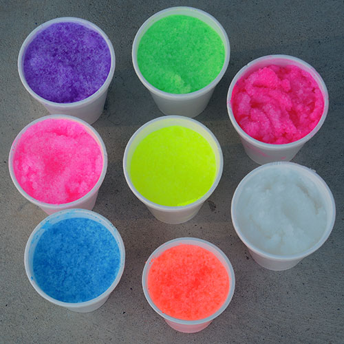 neon artificial snow colors in daylight