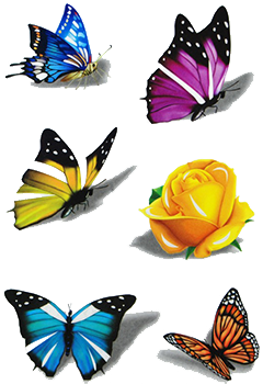 temporary tattoos rose butterfly