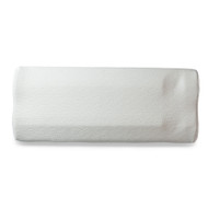 """A long, slender pillow custom-designed to fit between your legs.  A specific contour-fit aligns it perfectly to your legs, and a recessed """"foot rest"""" near the bottom provides a comfortable place for your feet while keeping the pillow in place."""