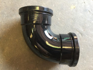110mm Soil Pipe 90deg Double Socket Bend - Black