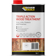 Everbuild Triple Action (Kills, Protects and Preserves) Wood Treatment, Clear, 1 Litre