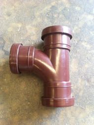 32mm Waste Pipe Tee Branch - Brown Push-fit