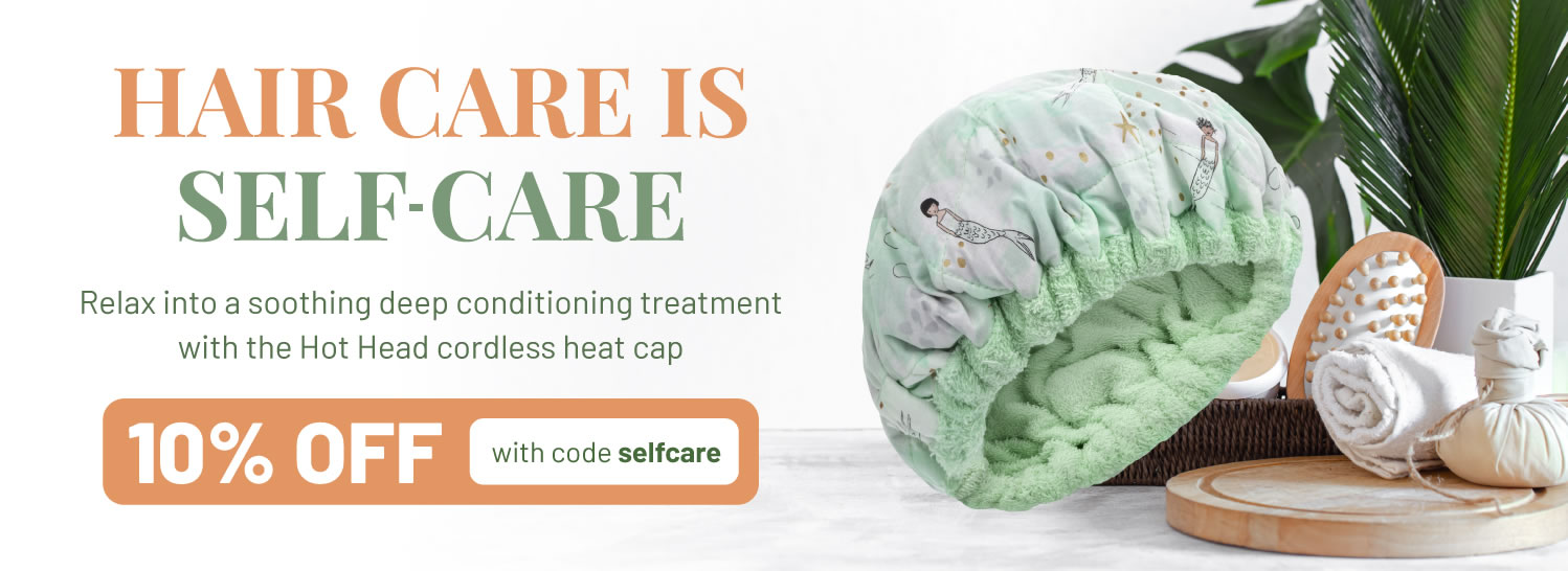 Hair care is self-care. Relax into a soothing deep conditioning treatment with the Hot Head cordless heat cap.