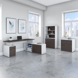 Bush Business Furniture Jamestown Collection – Storm Gray/White