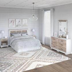 Bush Riverbrook Bedroom Collection – White Suede Oak/Barnwood
