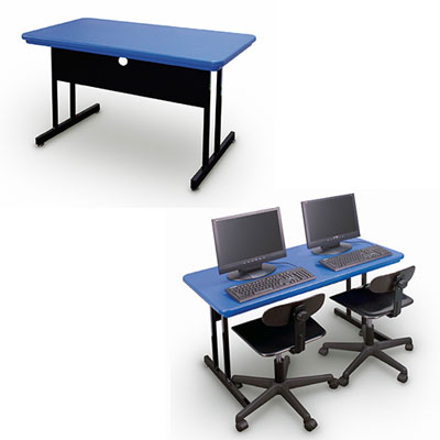 Correll Blow-Molded Plastic Training Computer Tables