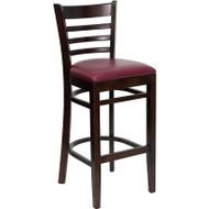 Flash Furniture Wood Ladder Back Barstool with Walnut Finish and and Burgundy Vinyl Seat - XU-DGW0005BARLAD-WAL-BURV-GG