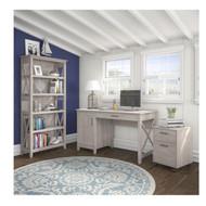 Bush Key West 54W Single Pedestal Desk with 2 Drawer Mobile Pedestal and Bookcase - KWS007WG