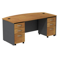 Bush Business Furniture Series C Package Bowfront Desk with 3 Drawer Mobile Pedestals Natural Cherry - SRC013NCSU