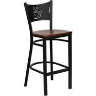 Flash Furniture Coffee Back Metal Restaurant Barstool with Cherry Wood Seat - XU-DG-60114-COF-BAR-CHYW-GG