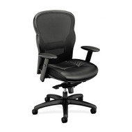 Basyx by HON Black High-Back Swivel/Tilt Work Chair with Mesh Back and Leather Seat - VL701SB11