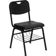 Flash Furniture HERCULES Series Plastic Stack Chair Black with Basket - RUT-GK01-BK-BAS-GG