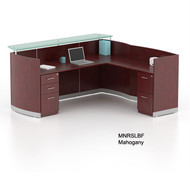 Mayline Medina Laminate Reception Desk with Return and 1 Box/Box/ File and 1 File/File Pedestal Drawer Mahogany - MNRSLBF-LMH