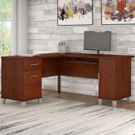 "Bush Somerset Collection L-Shaped Desk 60"" Hansen Cherry - WC81730K"