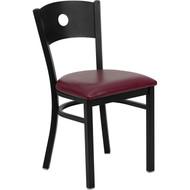 Flash Furniture Circle Back Metal Restaurant Chair with Burgundy Vinyl Seat - XU-DG-60119-CIR-BURV-GG