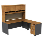 Bush Business Furniture Series C Package L-Shaped Desk with Hutch and Mobile File Cabinet Natural Cherry - SRC0018NCSU