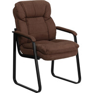 Flash Furniture Brown Microfiber Executive Side Chair with Sled Base -  GO-1156-BN-GG
