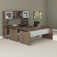 "Mayline Medina Laminate Executive 72"" Desk U-Shaped Package Textured Brown Sugar - MNT39TBS"