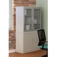Mayline Medina Laminate Storage Cabinet with Glass Hutch Textured Sea Salt - MSC-MGDC