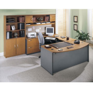 Bush Business Furniture Series C Package Executive U-Shaped Bowfront Desk Natural Cherry - NCPackageB