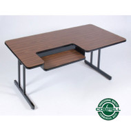 Correll High-Pressure Bi-level Computer Desk or Training Table with One Keyboard Tray 30 x 60 - BL3060