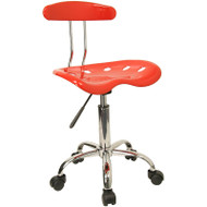 Flash Furniture Vibrant Red and Chrome Computer Task Chair with Tractor Seat - LF-214-RED-GG