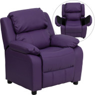 Flash Furniture Kid's Recliner with Storage Purple Vinyl - BT-7985-KID-PUR-GG