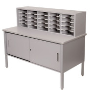"Marvel 25 Adjustable Slot Literature Organizer with Cabinet Slate Gray 60""W x 30""D x 44-52""H - UTIL0029"