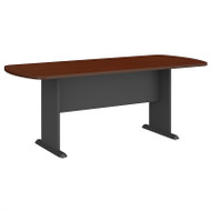 Bush Business Furniture Series A & C 79W x 34D Racetrack Oval Conference Table in Mahogany - TR36784A