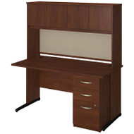 "Bush Business Furniture Series C Elite Desk with Hutch 60"" Hansen Cherry - SRE147HCSU"