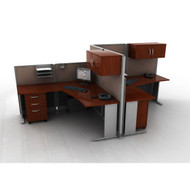 MONTHLY SPECIAL! Bush Furniture Office-in-an-Hour L-Shaped Desk Workstation 2-units - OIAH008HC