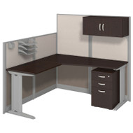 Bush Furniture Office-in-an-Hour L-Shaped Desk Package Mocha - WC36894-03STGK