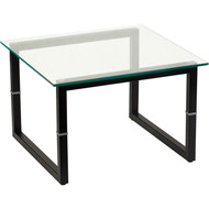Flash Furniture Contemporary End Table Glass Top and Black Steel Frame  - FD-END-TBL-GG