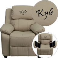 Flash Furniture Kid's Recliner with Storage Dreamweaver Embroiderable Beige Vinyl - BT-7985-KID-BGE-EMB-GG