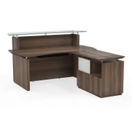 Mayline Sterling Reception Desk w Lateral File Textured Brown Sugar - STG34-TBS