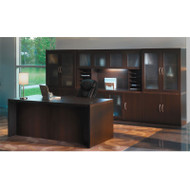 Mayline Aberdeen Executive Desk & Storage Cabinet Package Mocha - AT35